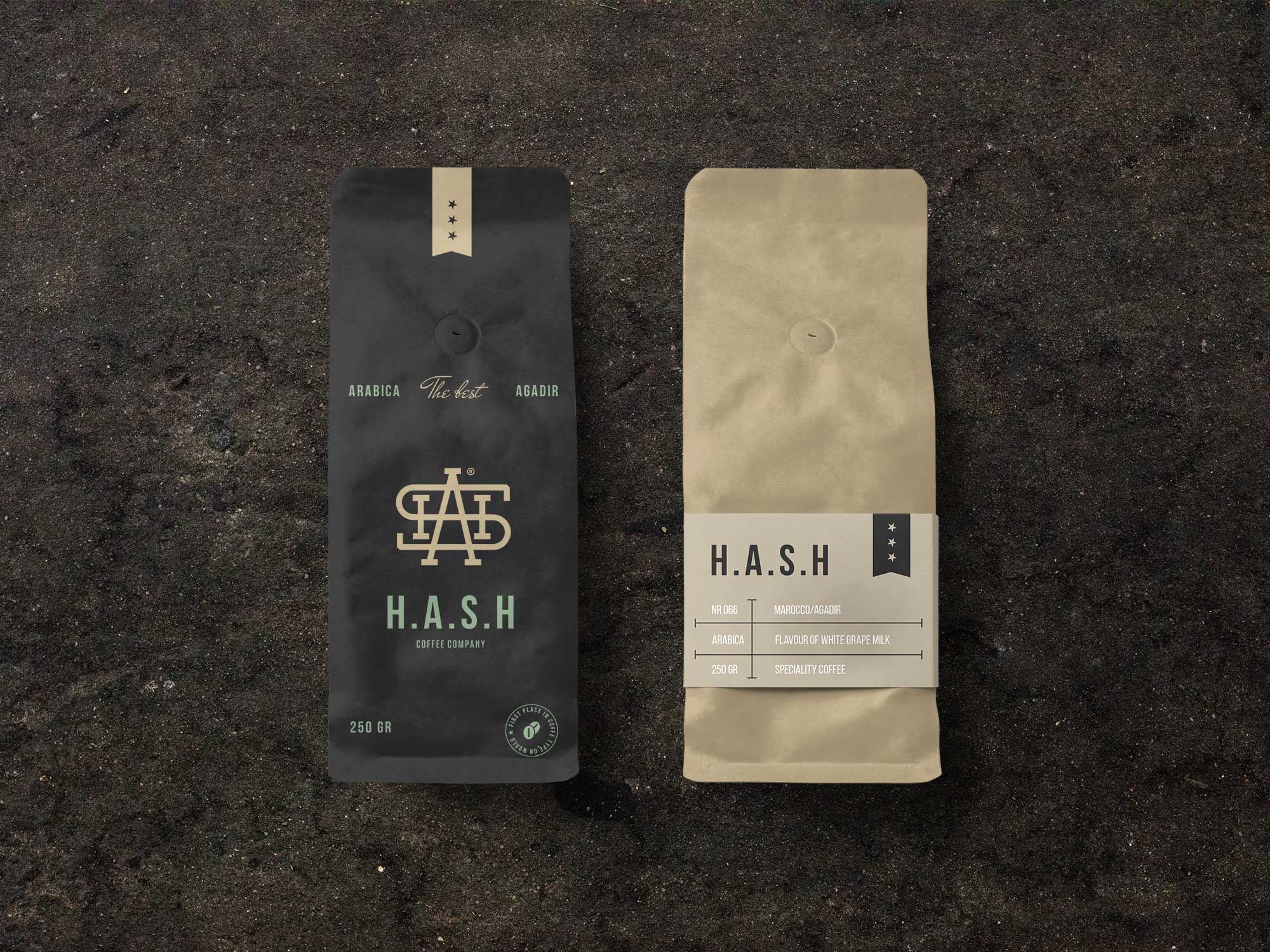 Two coffee bags on a brown background