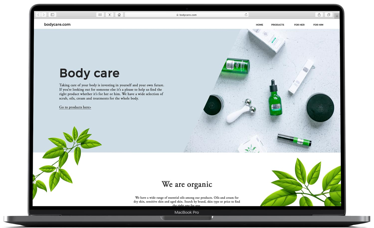 Webshop for body care