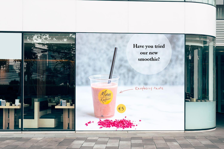Billboard in front of restaurant